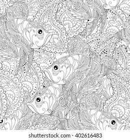 Coloring page for adults. Seamless pattern with zentangl  doodle fishes. Vintage.