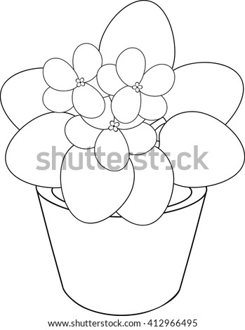 Coloring Page With African Violet Flower In Pot