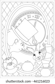 Coloring Page. Alice in Wonderland. Mad tea party.