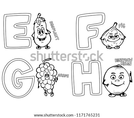 Coloring Page Alphabet Efgh Characters Eggplant Stock Vector