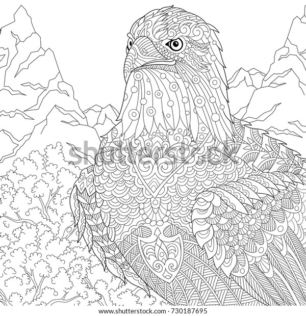 Coloring Page American Bald Eagle National Stock Vector ...
