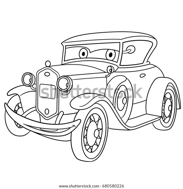 Coloring Page American Luxury Retro Old Stock Vector (Royalty Free)  680580226