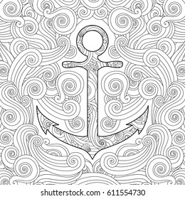 Coloring page with anchor in waves. Zentangle  inspired doodle style. Square composition. Coloring book for adult and older children. Editable vector illustration.