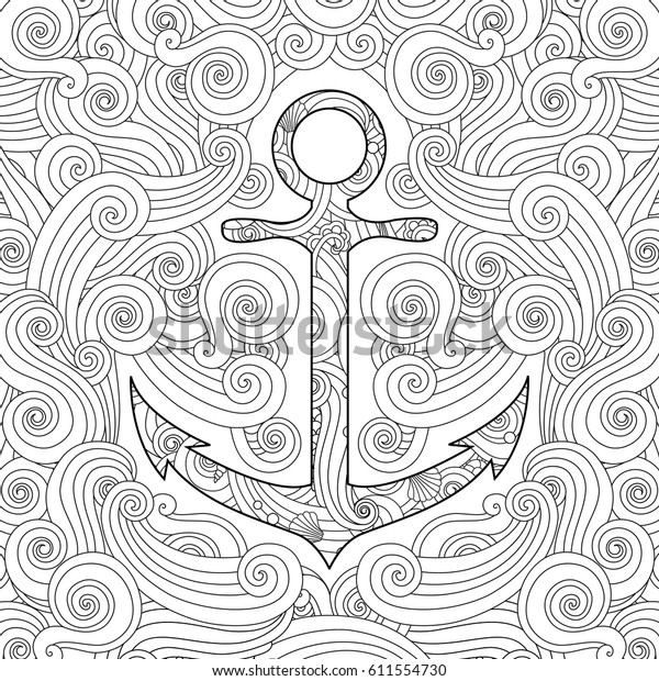 Coloring Page Anchor Waves Zentangle Inspired Stock Vector ...