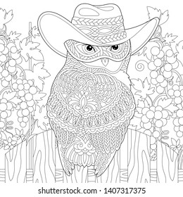 Coloring page. Anti stress colouring picture with owl in cowboy hat. Freehand sketch drawing with doodle and zentangle elements.