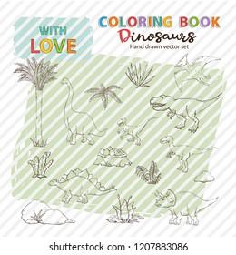 Coloring page anti stress with Dinosaurs set and plant.Vector Velociraptor, Allosaurus, Stegosaurus, Tyrannosaurus, Triceratops, Brachiosaurus, Pterosaur.Jurassic Wildlife.Wild animals dinosaurs.