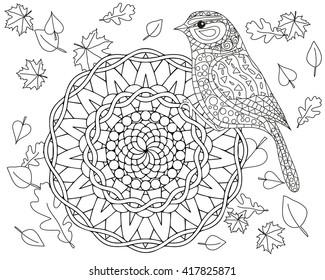 coloring page autumn bird mandala 260nw