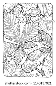 coloring page with autumn leaves