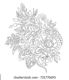 Coloring page autumn pattern. Abstract graphic bouquet with berries, leaves and flowers. Zen tangle style