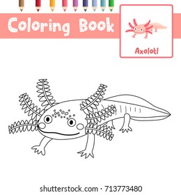 Coloring page of axolotl mexican salamander animals for preschool kids activity educational worksheet. Vector Illustration.