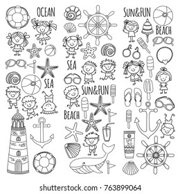 Coloring page Beach set with children Kindergarten or school vacation Small kids, Nursery, Sea, Ocean, Lighthouse. Boys and girls Doodle vector icons and patterns