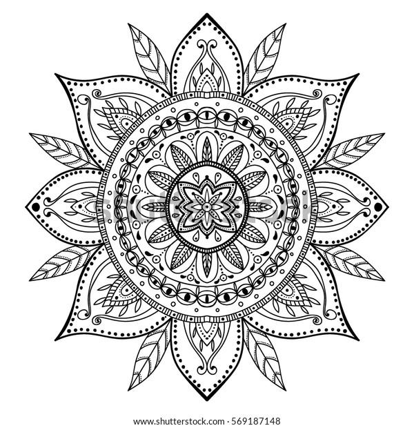 Boyama Sayfasi Guzel Mandala Stok Vektor Telifsiz 569187148