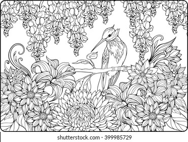 Coloring Page Of Bird On A Branch In Garden
