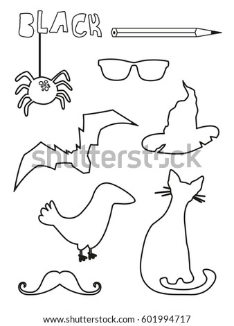 Coloring Page Black Things Set Single Color Worksheets Spider Bat Glasses