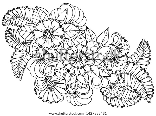 Coloring page in black and white for colouring book. Leafs and flowers  in monochrome colors. Doodles pattern vector