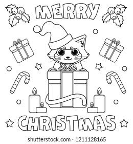 Coloring page. Black and white vector illustration. Merry Christmas.