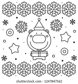 Coloring page. Black and white vector illustration of a bear.