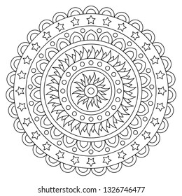Coloring page. Black and white vector illustration of mandala