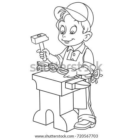 Coloring Page Blacksmith Worker Coloring Book Stock Vektorgrafik
