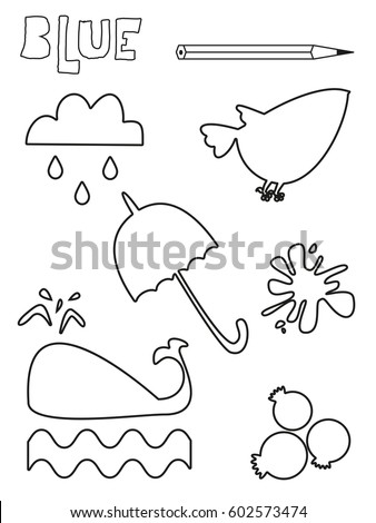 blue and sprinkle coloring pages | Coloring Page Blue Things Set Single Vector de stock ...