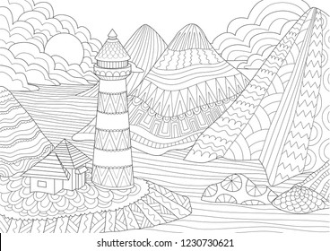 Coloring Page. Coloring Book for adults. Colouring pictures of light house among mountains,sun and rocks. Antistress freehand sketch drawing with doodle and zentangle elements.