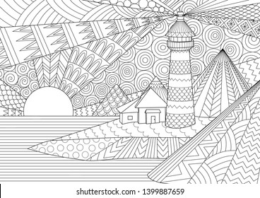 Coloring Page. Coloring Book for adults. Colouring pictures of light house among mountains,sunburst ocean and seawave. Antistress freehand sketch drawing with doodle and zentangle elements.