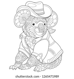 Coloring page. Coloring book. Anti stress colouring picture with koala bear. Freehand sketch drawing with doodle and zentangle elements.