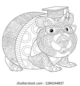 Coloring page. Coloring book. Anti stress colouring picture with hamster or guinea pig. Freehand sketch drawing with doodle and zentangle elements.
