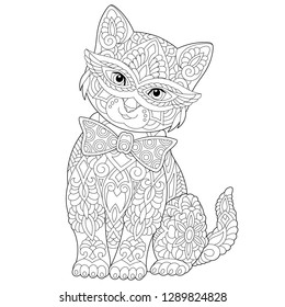 Coloring page. Coloring book. Anti stress colouring picture with cat. Freehand sketch drawing with doodle and zentangle elements.