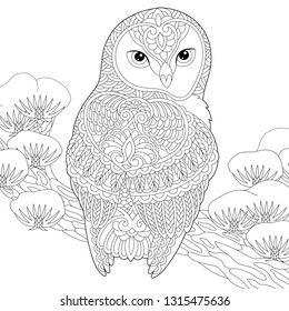 Coloring page. Coloring book. Anti stress colouring picture with owl. Freehand sketch drawing with doodle and zentangle elements.