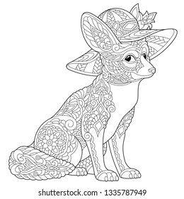 Coloring page. Coloring book. Anti stress colouring picture with fennec fox. Freehand sketch drawing with doodle and zentangle elements.