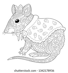 Coloring page. Coloring book. Anti stress colouring picture with mouse. Rat - 2020 year symbol in Chinese zodiac calendar. Freehand sketch drawing with doodle and zentangle elements.
