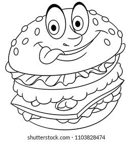 Coloring Page Coloring Book Burger Hamburger Stock Vector Royalty