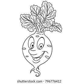Coloring Page Book Cartoon Beet Beetroot Root Crop Happy Vegetable Emoticon