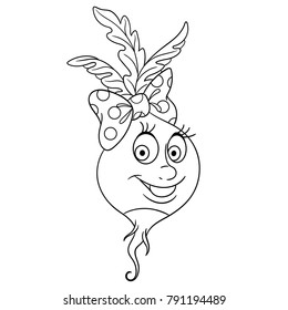 coloring page coloring book cartoon radish character happy vegetable symbol eco food
