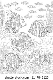 Coloring Page. Coloring Book. Colouring picture with collection of tropical fishes. Antistress freehand sketch drawing with doodle and zentangle elements.