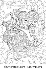 Coloring Page. Coloring Book. Colouring picture with Koala Bears. Antistress freehand sketch drawing with doodle and zentangle elements.