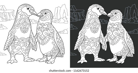 Coloring Page. Coloring Book. Colouring picture with Penguin couple drawn in zentangle style. Antistress freehand sketch drawing. Vector illustration.