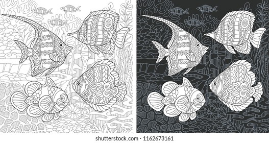 Coloring Page. Coloring Book. Colouring picture with tropical fishes drawn in zentangle style. Antistress freehand sketch drawing. Vector illustration.