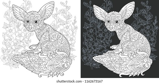 Coloring Page. Coloring Book. Colouring picture with Fennec Fox drawn in zentangle style. Antistress freehand sketch drawing. Vector illustration.
