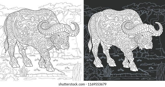 Coloring Page. Coloring Book. Colouring picture with Buffalo drawn in zentangle style. Antistress freehand sketch drawing. Vector illustration.