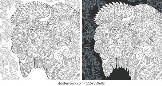 Coloring Page. Coloring Book. Colouring picture with Bison drawn in zentangle style. Antistress freehand sketch drawing. Vector illustration.