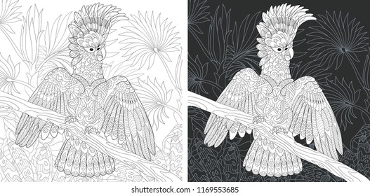Coloring Page. Coloring Book. Colouring picture with Cockatoo Parrot drawn in zentangle style. Antistress freehand sketch drawing. Vector illustration.
