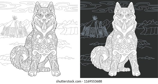 Coloring Page. Coloring Book. Colouring picture with Husky Dog drawn in zentangle style. Antistress freehand sketch drawing. Vector illustration.