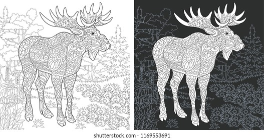 Coloring Page. Coloring Book. Colouring picture with Moose drawn in zentangle style. Antistress freehand sketch drawing. Vector illustration.