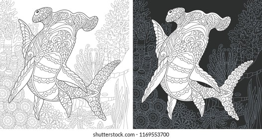 Coloring Page. Coloring Book. Colouring picture with Hammer head Shark drawn in zentangle style. Antistress freehand sketch drawing. Vector illustration.