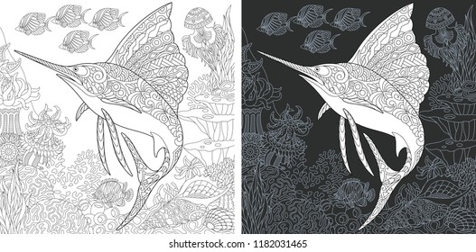 Coloring Page. Coloring Book. Colouring picture with Sailfish drawn in zentangle style. Antistress freehand sketch drawing. Vector illustration.