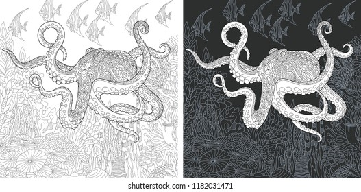 Coloring Page. Coloring Book. Colouring picture with Octopus drawn in zentangle style. Antistress freehand sketch drawing. Vector illustration.