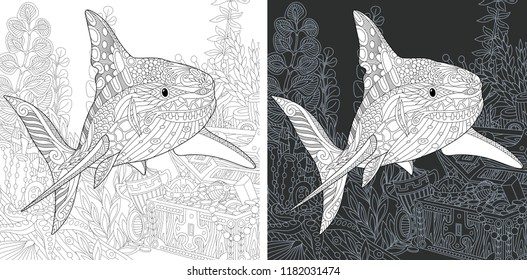 Coloring Page. Coloring Book. Colouring picture with Shark drawn in zentangle style. Antistress freehand sketch drawing. Vector illustration.