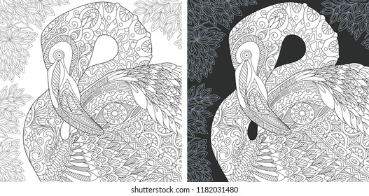 Coloring Page. Coloring Book. Colouring picture with Flamingo drawn in zentangle style. Antistress freehand sketch drawing. Vector illustration.